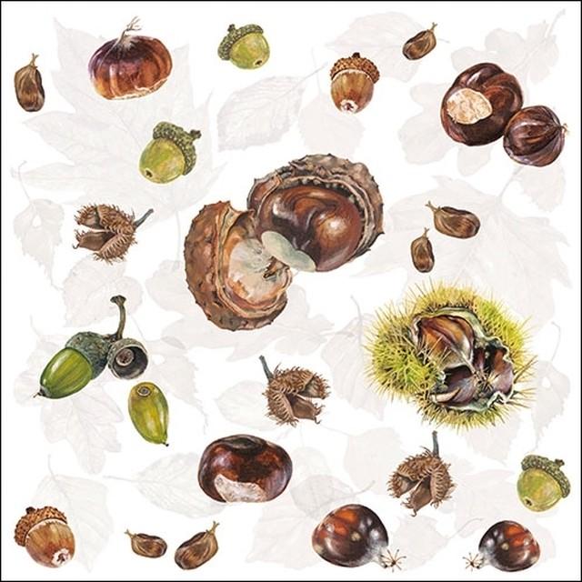 2020秋冬新作【Ambiente】バラ売り2枚 ランチサイズ ペーパーナプキン Chestnuts ホワイト