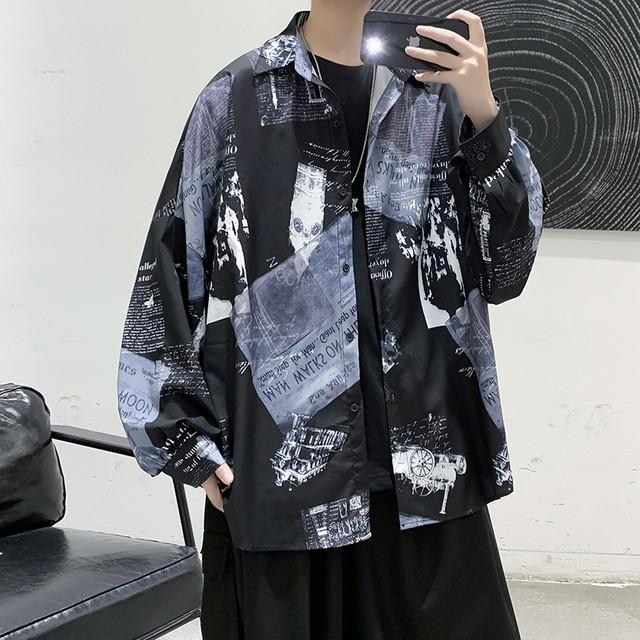 【阿茶と啊古シリーズ】★レトロ シャツ★ 2color 黒or白 メンズトップス ファッション ins風 かっこいい
