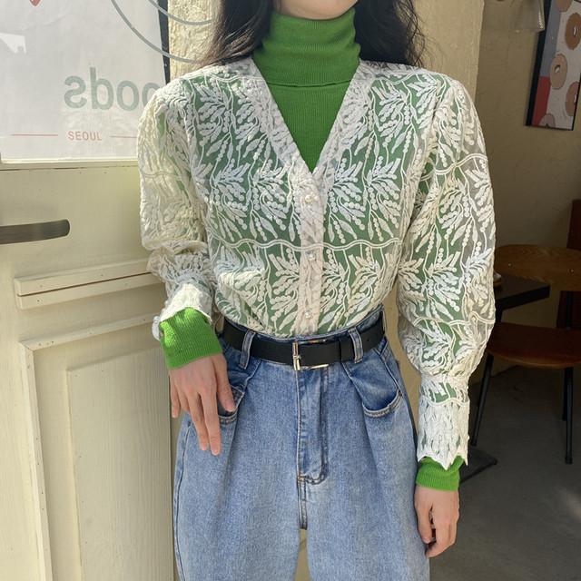 【セット】[単品注文]絶対欲しいファッションVネック透かし彫りレースブラウス+ハイネックプルオーバーセーター二点セット38316065