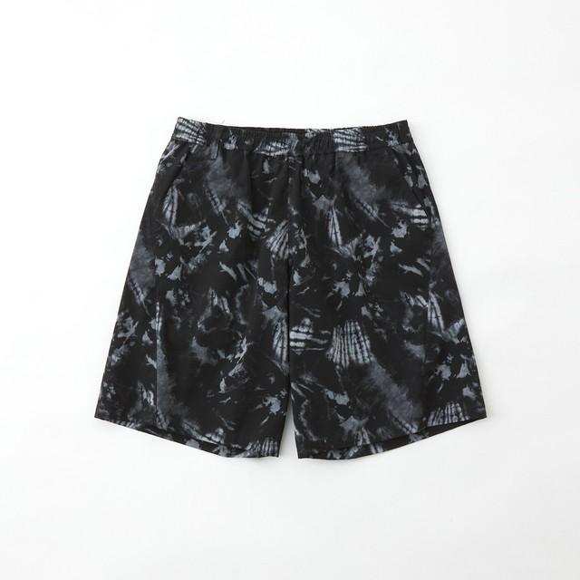 TIE DYE PRINTED STRETCHED EASY SHORT PANTS - BLACK