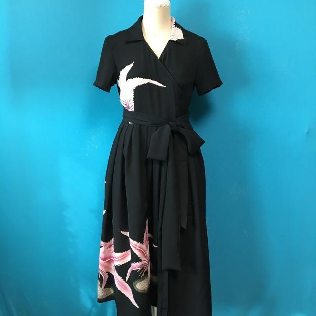 Vintage black 着物 鳥の刺繍
