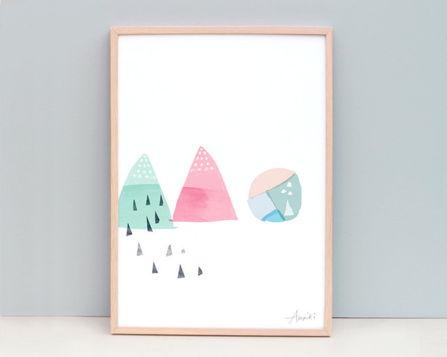 Watermelon / A4 Abstract Painting Shapes Mint and Pink Art Print