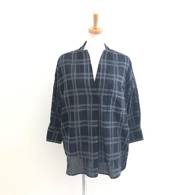 【 QTUME 】- 952-25536 - ノーカラーチェックシャツ