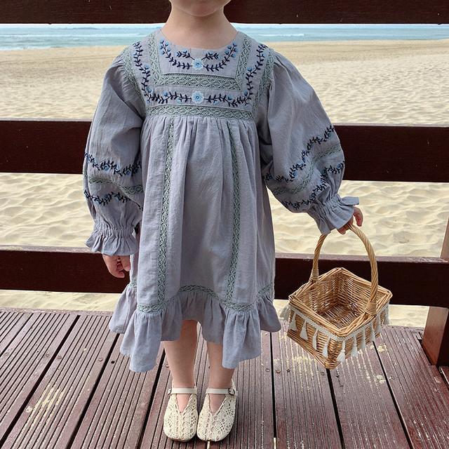 【先行予約】flower刺繍 ワンピース 花柄 ドレス 春 SS 子供服