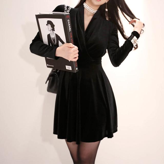 【dress】デートワンピーススウィートリボンAラインラウンドネック
