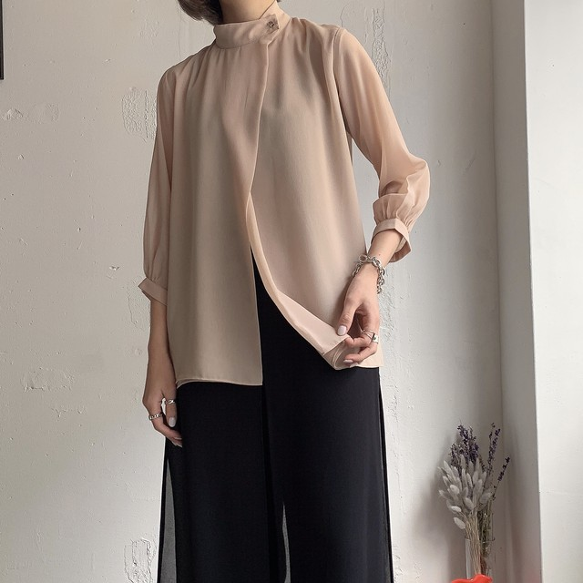 vintage stand collar sheer blouse