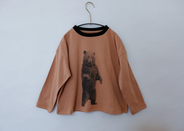 《michirico 2019AW》Bear longsleeveT / brown / L・XL・XXL
