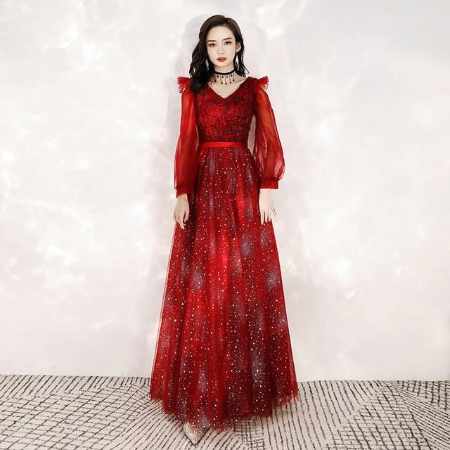 パーティードレス ロングドレス 演奏会 発表会 結婚式 写真撮影用 大きいサイズ XS S M L LL 3L 4L 長袖 気質良い レトロ 着痩せ スリム ビーズ スパンコール Vネック 編み上げスタイル レッド 赤い