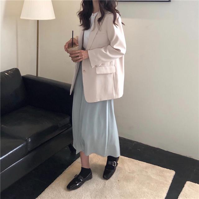 2020AW プリーツマキシ丈スカート×ジャケット