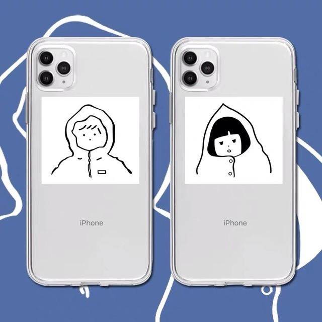 【iPhone12新機種対応!】カップルお揃いイラストiPhoneケース *p00024^