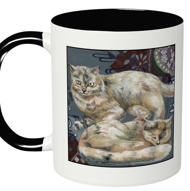 『日本画×眠りネコ』 2トーンマグカップ ブラック