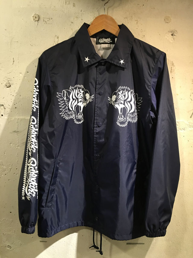 RAKUGAKI TWIN TIGER Coach Jaket Black