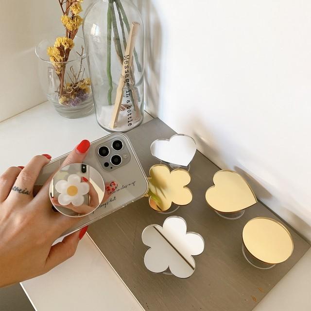 アクセサリー グリップ グリップトック iPhoneケース スマホアクセサリー ミラーデザイングリップ 鏡 ミラー レディース かわいい 大人 おしゃれ 韓国