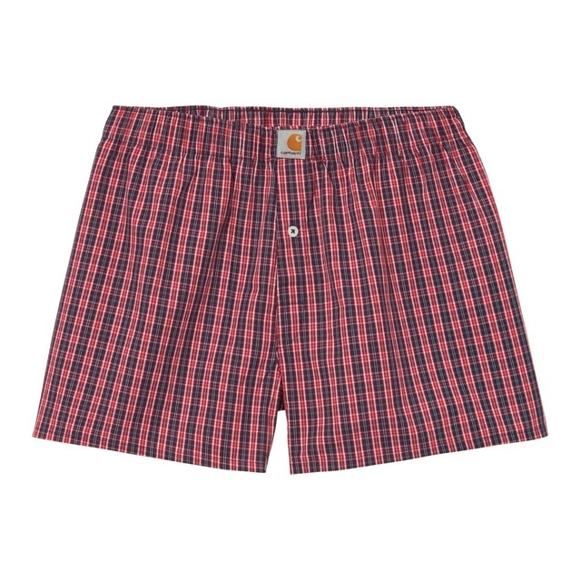 CARHARTT WIP COTTON BOXERS - James Check, Etna Red