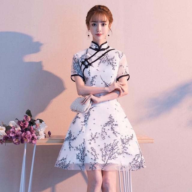 可愛い チャイナ風ドレス ワンピース パーティードレス チャイナ風服 二次会 女子会 同窓会 スタンドネック 半袖 ショート丈 刺繍入り レース 改良型チャイナドレス 大きいサイズ S M L LL 3L