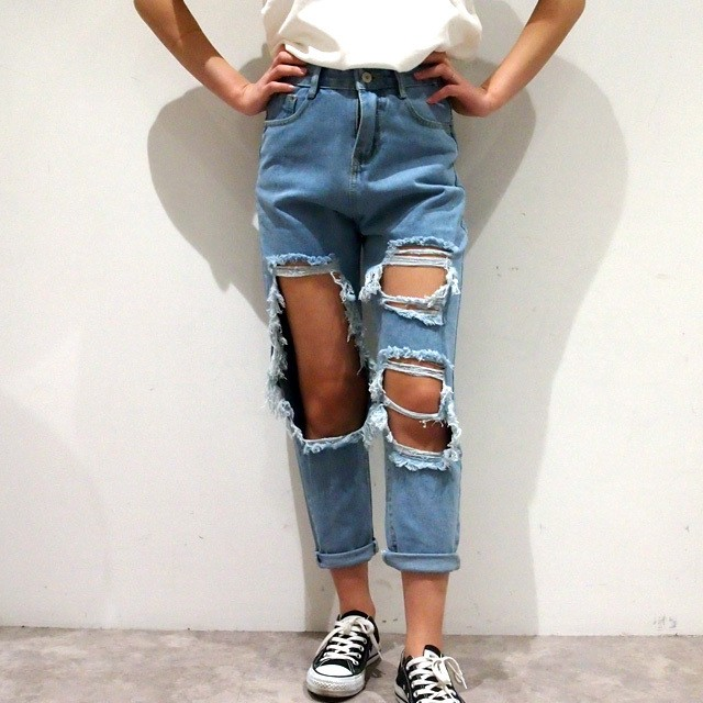 【RE-ARRIVAL】HIGH WAIST DAMAGE BOYS DENIM
