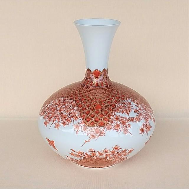 秀島窯作 金襴手七宝桜雀紋 花瓶
