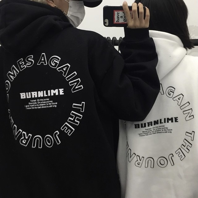 back circle letter print hoodie PD2322