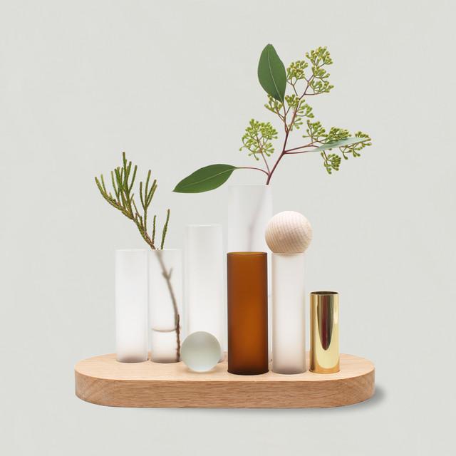 【BUILDING ALIVE 】フラワーベース / 花瓶  (ガラス 真鍮 木製) : JM20PV001