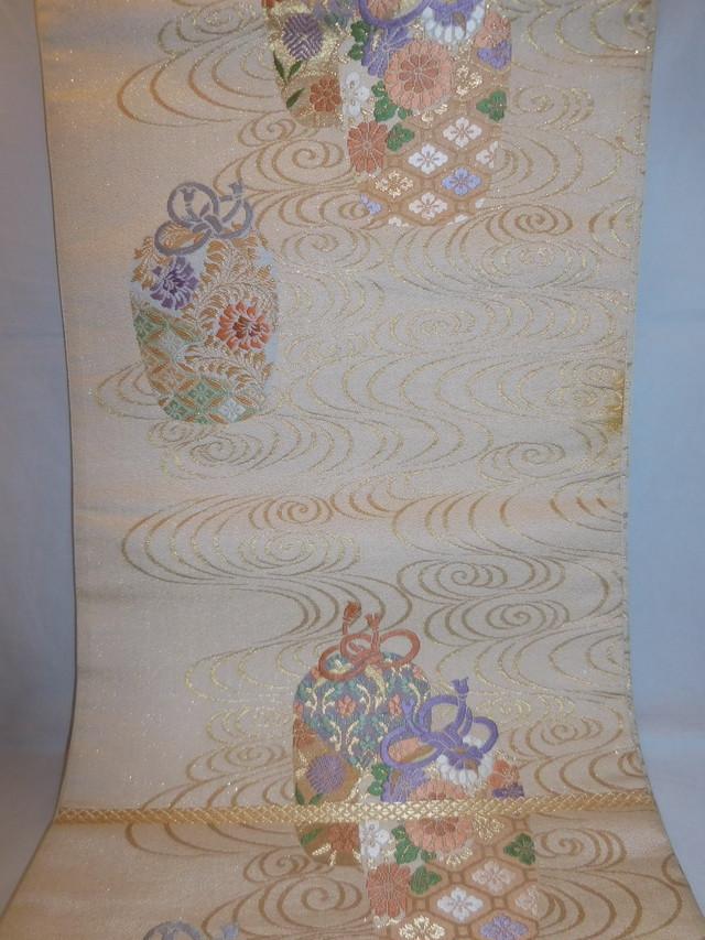 西陣琥珀袋帯 Nishijin Fukuro obi sash (No71)