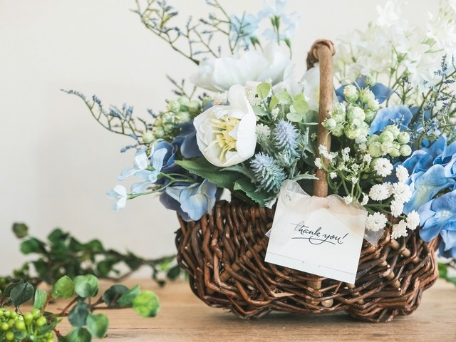 Flower Basket_Fuzzy Blue◆Artificial