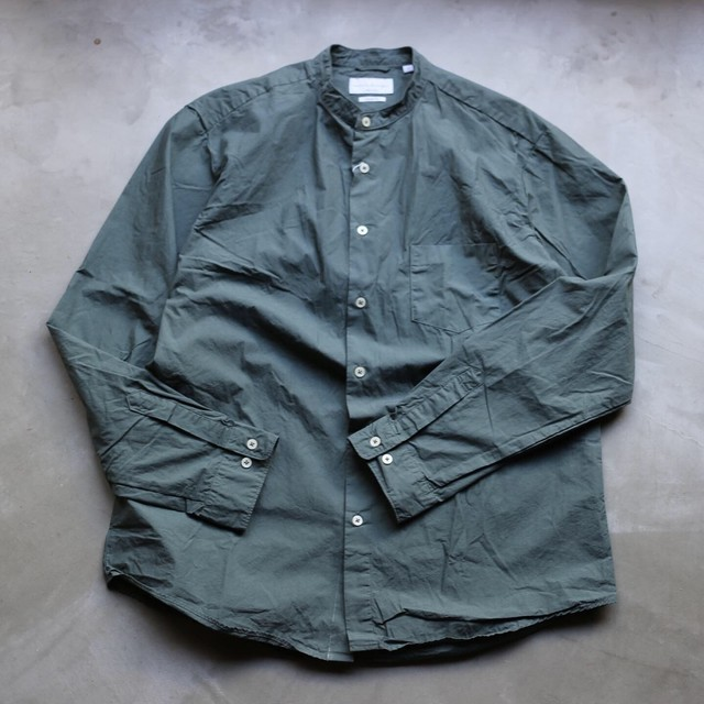 MANUAL ALPHABET / GRAY LOOSE FIT バンドカラーシャツ