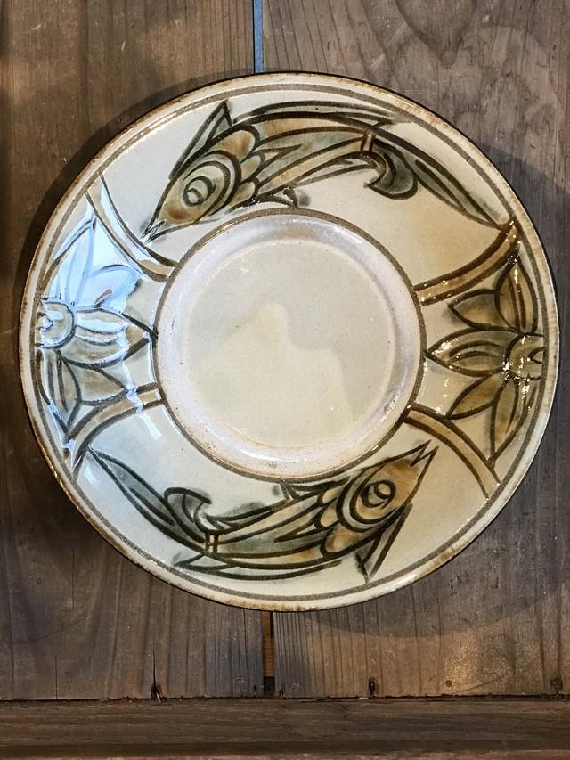 やちむん 次郎窯 魚紋 6寸皿 ブルー
