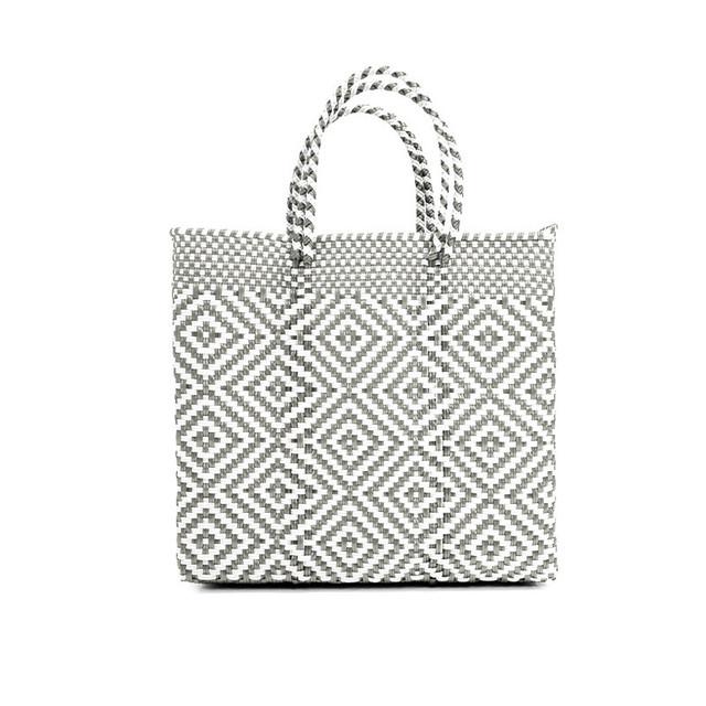 MERCADO BAG MULTI DIAMOND- Silver x White(S)