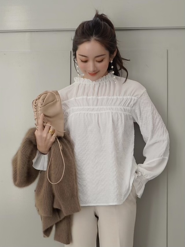 【予約】ripple shirring blouse / white (2月上旬発送予定)