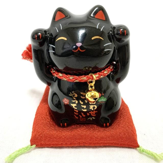 彩絵福招き猫(黒・小)