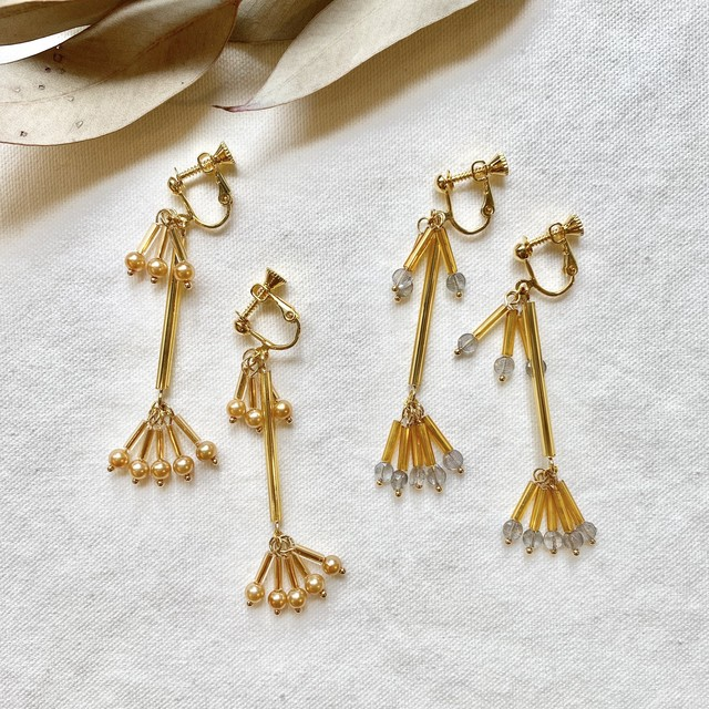 竹ビーズのイヤリング