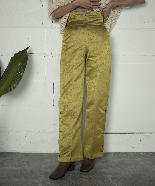 SIDE OPEN JACQUARD PANTS (YELLOW)