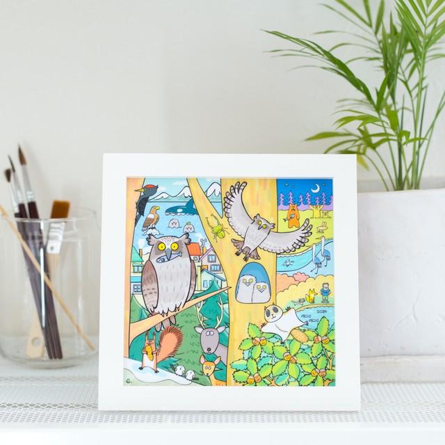シマフクロウ アウルンの日々「ありがとうの森」ホワイトフレーム 大人の塗り絵付き