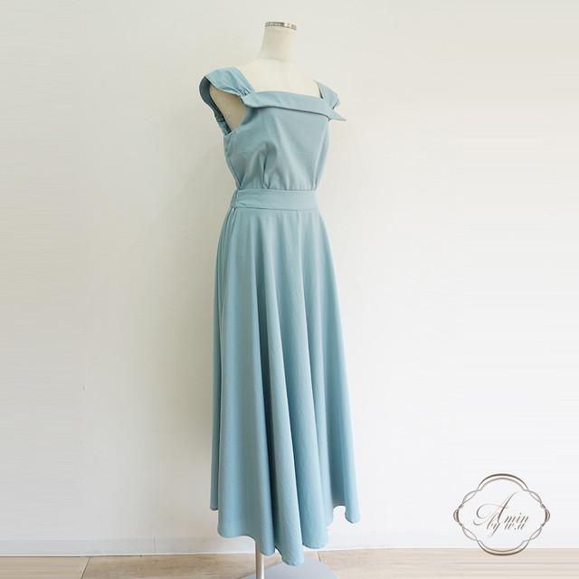 スクエアネックデザインAラインスカートセットアップ Blue