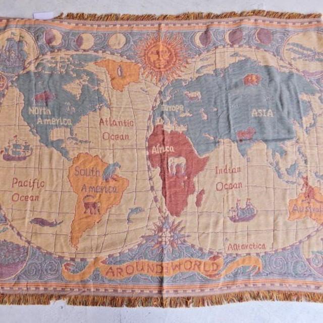 TOPANGA Homefurnishing 世界地図のスローケット 130×180cm