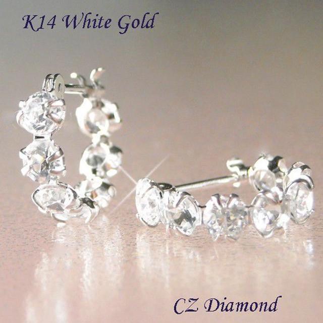 フープピアス CZダイヤモンド 片耳7石 14金ホワイトゴールド レディース