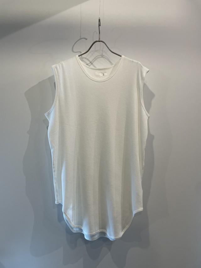 T/f Lv2 cotton waffle sleeveless top - white