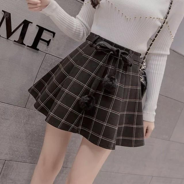 pompon mini skirt 2color