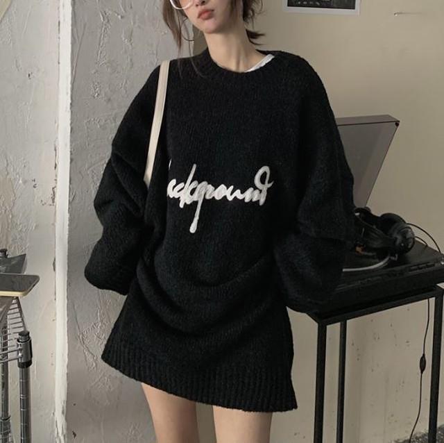 Oversize front logo sweater LD0459