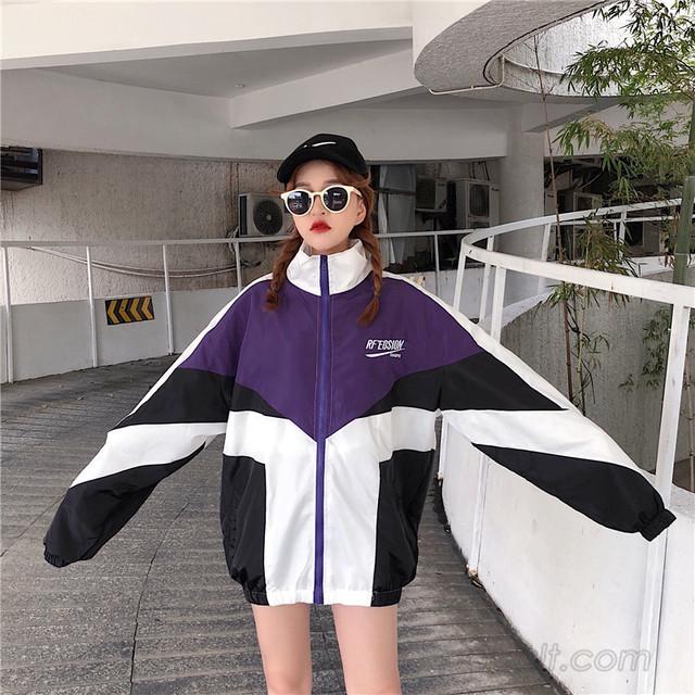 【アウター】春先新品配色ストリート系切り替え折り襟ジャケット23357264