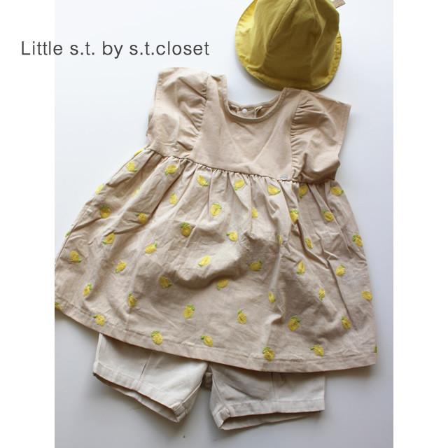 【Little s.t. by s.t.closet】A27521-12 レモン刺繍ワンピース 80-140㎝