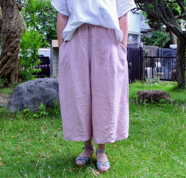 受注製作 お色は13色 ワッシャーリネンキュロットスカート (オーダー品)M〜3Lサイズまで