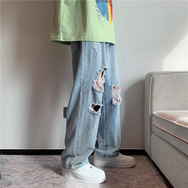 【メンズファッション】ファッションハイウエストダメージ加工デニムパンツ46876191