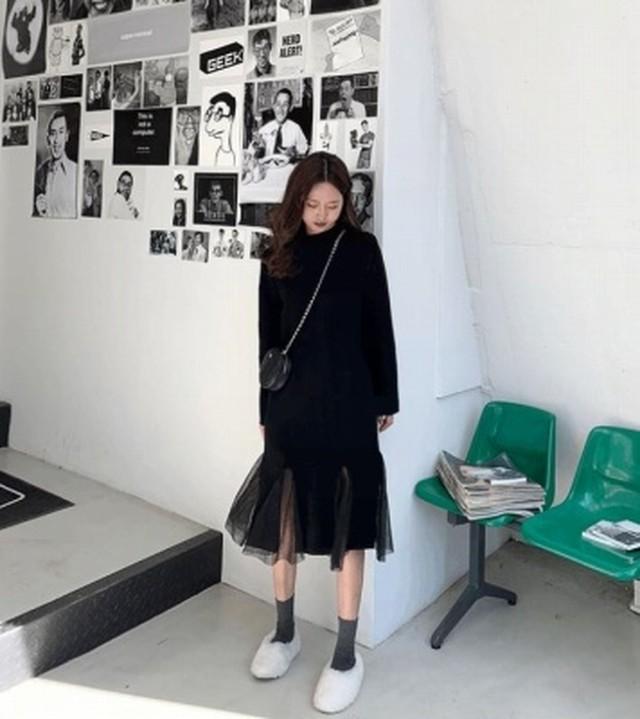 【ワンピース】ミディアム 長袖 クルーネック ペプラム ワンピース 秋冬