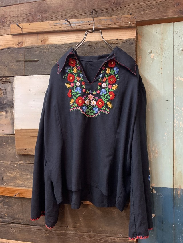 70's womens old blouse 'black'
