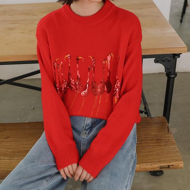 【tops】カジュアル韓国系長袖着痩せスパンコール合わせやすいニットセーター