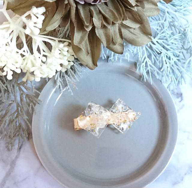 氷のヘアクリップ シアーホワイト