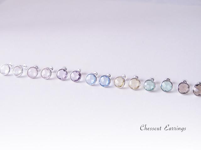 クリスタル水晶チェスカットピアス SV925
