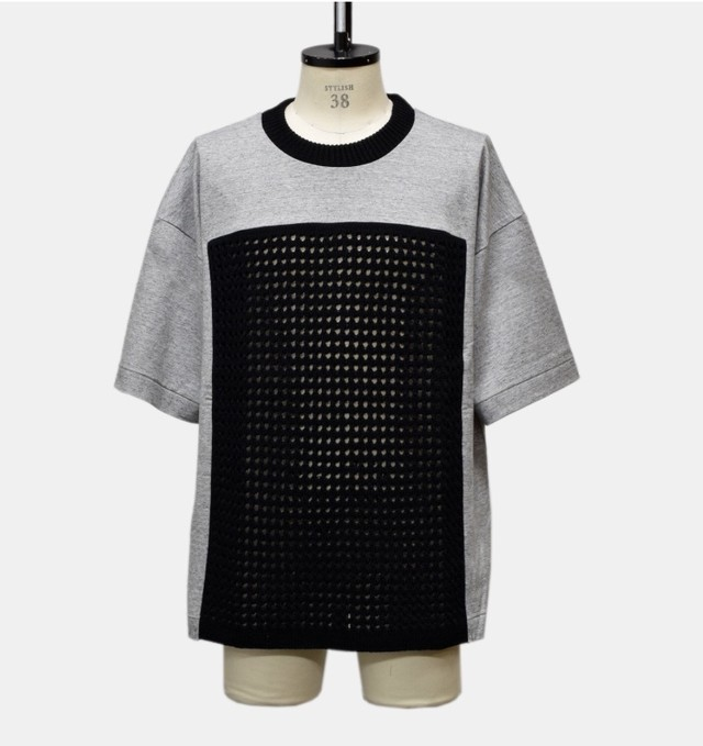 my beautiful landlet plain stitch switching T-shirt ( grey sonota3)