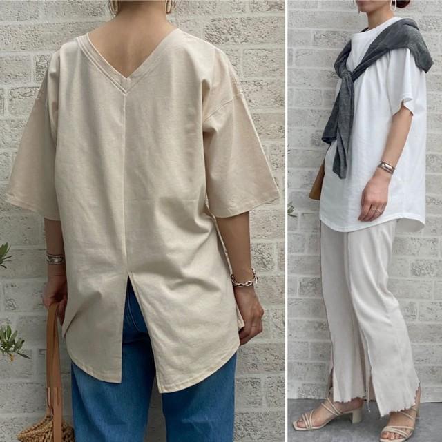 ◆即納◆バックオープン バックスリット入 ロングTシャツ 2S-074